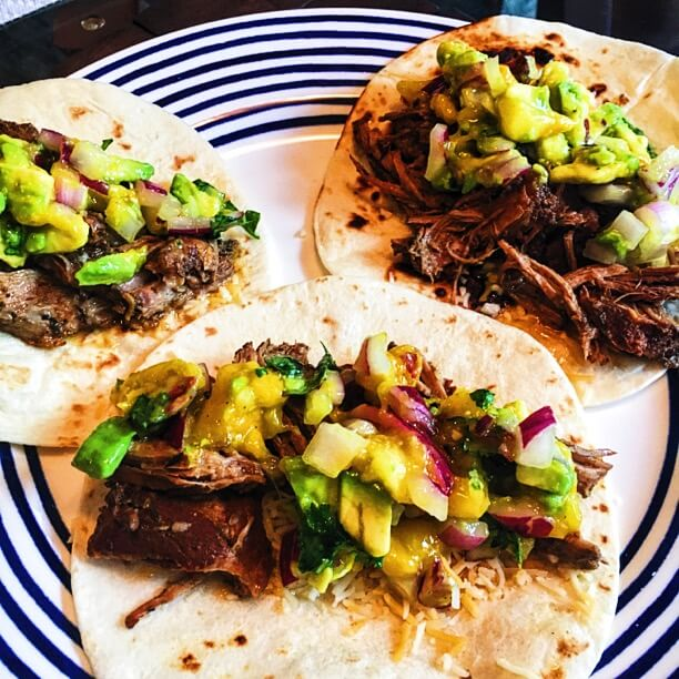 Slow Cooker Jerk Pork Tacos with Caribbean Salsa - Ally's ...