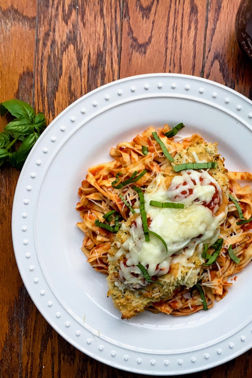 Crispy Baked Chicken Parmesan and Fettuccine - Ally's Cooking