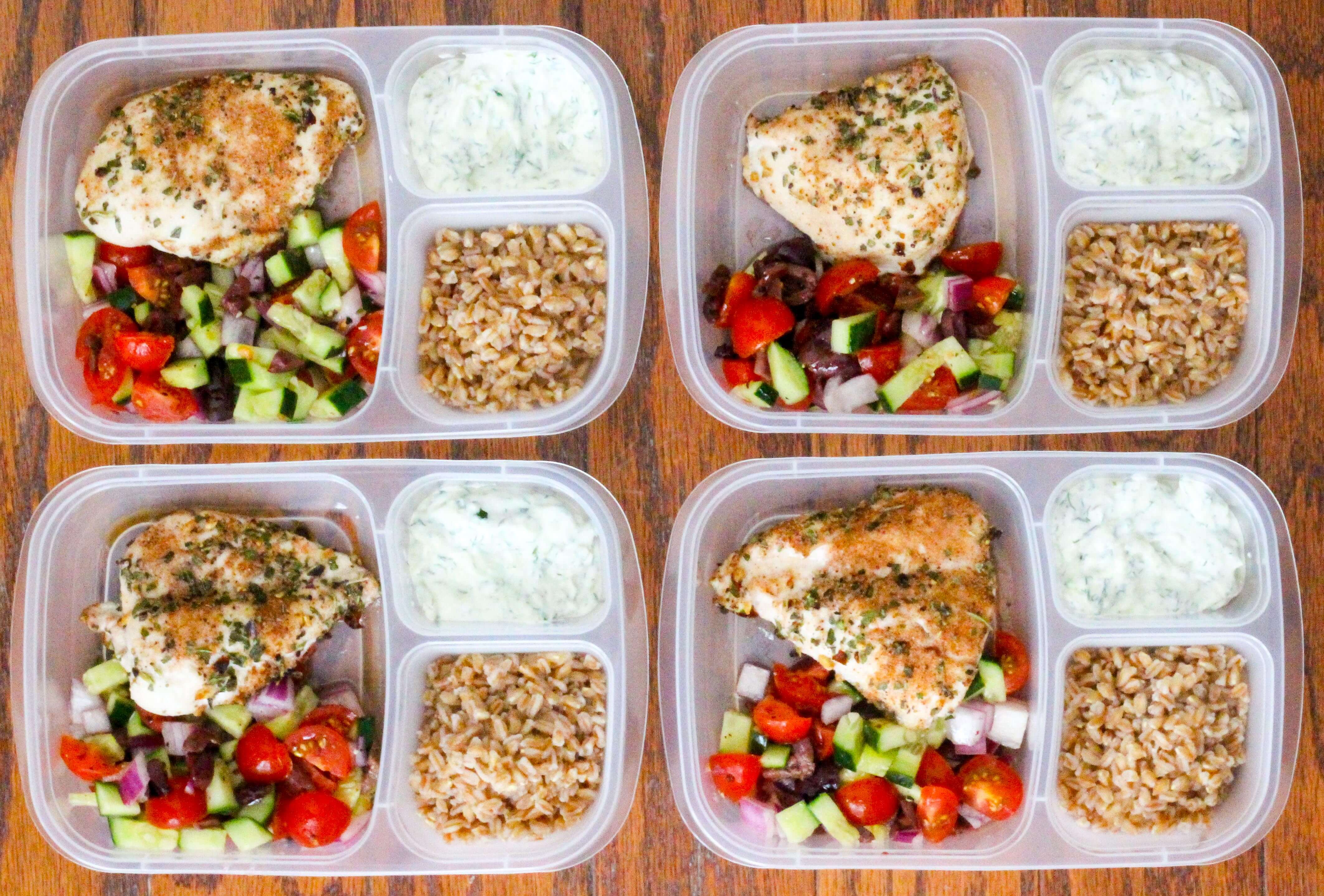 Healthy Greek Chicken Meal Prep Bowls - Ally's Cooking